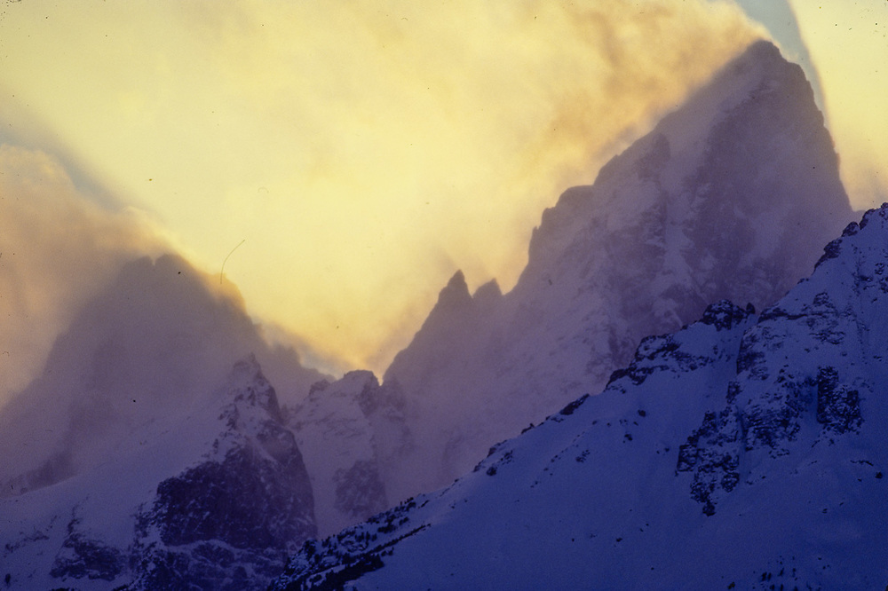 The Cathedral Group, evening light, winter, Grand Teton National Park, Wyoming, USA