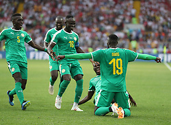MOSCOW, June 19, 2018  Mbaye Niang (1st R) of Senegal celebrates scoring during a Group H match between Poland and Senegal at the 2018 FIFA World Cup in Moscow, Russia, June 19, 2018. (Credit Image: © Fei Maohua/Xinhua via ZUMA Wire)