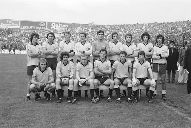 The Dublin team before the All Ireland Senior Gaelic Football Final Dublin v Kerry in Croke Park on the 26th September 1976. Dublin 3-08 Kerry 0-10.<br /> <br /> P Cullen, G O'Driscoll, S Doherty, R Kelleher, T Drumm, K Moran, P O'Neill, B Mullins, B Brogan, A O'Toole, A Hanahoe (capt), D Hickey, B Doyle, J Keaveney, J McCarthy, Subs F Ryder for A Hanahoe, P Gogarty for B Doyle.