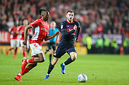 Charlton Athletic midfielder Joe Aribo (17) and Doncaster Rovers midfielder Ben Whiteman (8) during the EFL Sky Bet League 1 second leg Play-Off match between Charlton Athletic and Doncaster Rovers at The Valley, London, England on 17 May 2019.