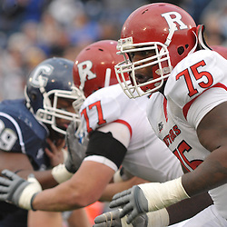 Oct 31, 2009; East Hartford, CT, USA; Rutgers offensive lineman Anthony Davis (75) blocks during second half Big East NCAA football action in Rutgers' 28-24 victory over Connecticut at Rentschler Field.