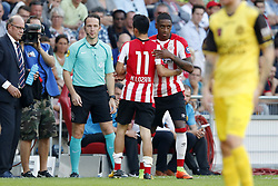 (L-R) Hirving Lozano of PSV, Pablo Rosario of PSV during the Dutch Eredivisie match between PSV Eindhoven and Roda JC Kerkrade at the Phillips stadium on August 27, 2017 in Eindhoven, The Netherlands