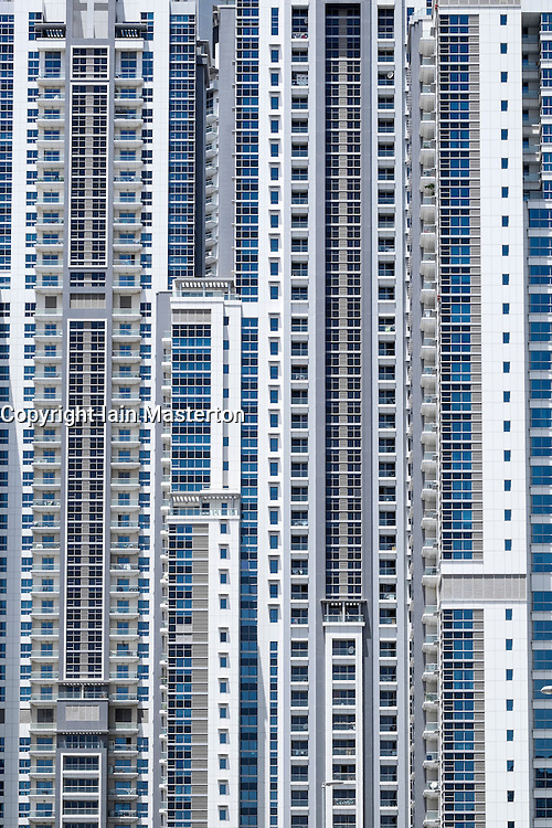 Many apartments in new high-rise residential towers in Business Bay district Dubai United Arab Emirates