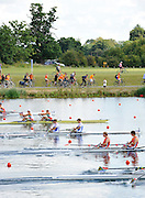 Eton. Great Britain. The Orange Army [Dutch supporters] following the NED JM2X as they compete at the Eton Rowing Centre 2011 FISA Junior  World Rowing Championships. Dorney Lake, Nr Windsor. Friday, 05/08/2011  [Mandatory credit: Peter Spurrier Intersport Images]