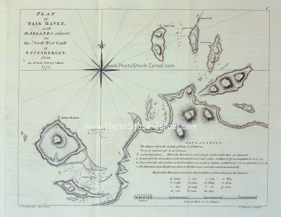 Expedition course charts from the book '  A voyage towards the North Pole : undertaken by His Majesty's command, 1773 ' by Constantine John Phipps, Baron Mulgrave, 1744-1792; The 1773 Phipps expedition towards the North Pole was a British Royal Navy expedition in which two ships under the commands of Constantine John Phipps as Captain of the HMS Racehorse [an 18-gun ship-rigged sloop of the Royal Navy.] and Skeffington Lutwidge as Captain of the HMS Carcass [a bomb vessel of the Royal Navy], sailed towards the North Pole in the summer of 1773 and became stuck in ice near Svalbard. A young Horatio Nelson. was a midshipmen onboard the ' Carcass ' on this expedition