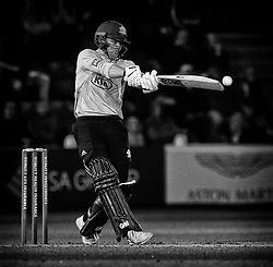 Surrey's Rory Burns hits a boundary of the bowling of Glamorgan's Michael Hogan<br /> <br /> Photographer Simon King/Replay Images<br /> <br /> Vitality Blast T20 - Round 14 - Glamorgan v Surrey - Friday 17th August 2018 - Sophia Gardens - Cardiff<br /> <br /> World Copyright © Replay Images . All rights reserved. info@replayimages.co.uk - http://replayimages.co.uk