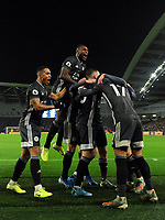 Football - 2019 / 2020 Premier League - Brighton & Hove Albion vs. Leicester City<br /> <br /> Leicester City players celebrate Ayoze Perez giving them the lead, at The Amex.<br /> <br /> COLORSPORT/ASHLEY WESTERN