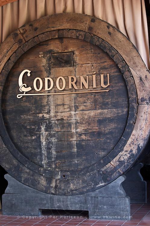 Ancient medieval oak vat. Codorniu, Sant Sadurni d'Anoia, Penedes, Catalonia, Spain