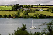 Sailing boat on the Helford River, Cornwall, United Kingdom.