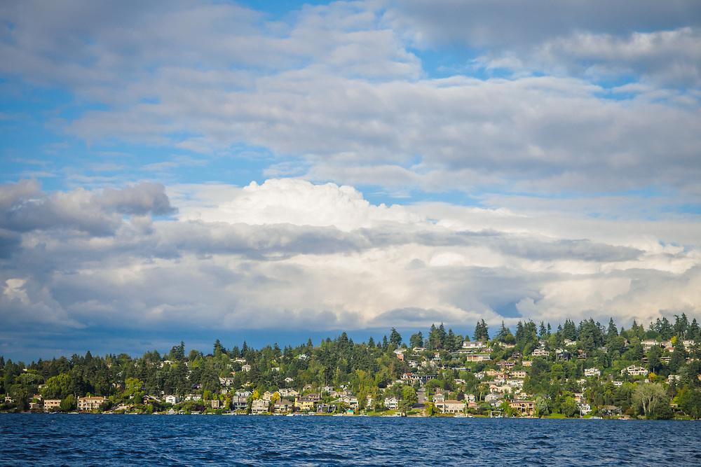 United States, Washington, Bellevue. Houses overlooking Lake Washington.