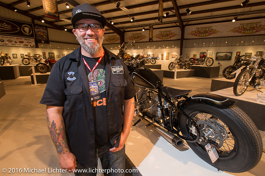 BMW design director Ola Stenegard of Munich on the Industry party night for Michael Lichter's tattoo themed Skin & Bones Motorcycles as Art exhibition at the Buffalo Chip during the annual Sturgis Black Hills Motorcycle Rally.  SD, USA.  August 7, 2016.  Photography ©2016 Michael Lichter.