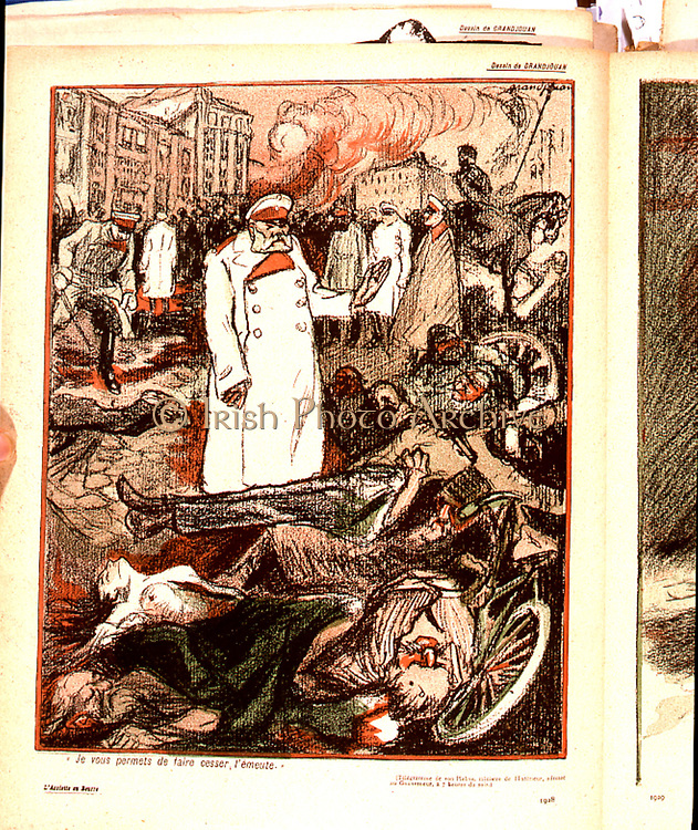 Anti-Semitism in Tsarist Russia. Pogrom in Kishinev (Kichinev) capital of Bessarabia, 1903.  The anti-Jewish riots and massacre began at noon on Easter Sunday and rioters included seminarists from local religious colleges, and students.