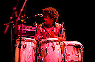 Colombian band Ondatropica live at the Hackney Empire, London E8, UK, on Colombian Independence Day (20 July 2012). Chongo on drums.