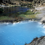The Benton Hot Springs in Mammoth Lakes, California provide soaking relief in the scenic Sierra Mountains. Part of the hot springs are scalding hot and off limits.