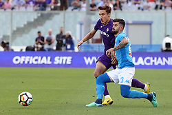 April 29, 2018 - Florence, Florence, Italy - 29th April 2018, Stadio Artemio Franchi, Florence, Italy; Serie A Football, Fiorentina versus Napoli; (L-R) Federico Chiesa of Fiorentina is challenged by Elseid Hysaj of Napoli  Credit: Giampiero Sposito/Pacific Press (Credit Image: © Giampiero Sposito/Pacific Press via ZUMA Wire)