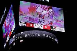 06 January 2016: Redbird Arena scoreboard over center court during the Illinois State Redbirds v Loyola-Chicago Ramblers at Redbird Arena in Normal Illinois (Photo by Alan Look)