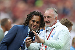 MOSCOW, July 11, 2018  France's former soccer player Christian Karembeu (L) is seen prior to the 2018 FIFA World Cup semi-final match between England and Croatia in Moscow, Russia, July 11, 2018. (Credit Image: © Xu Zijian/Xinhua via ZUMA Wire)