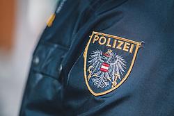 THEMENBILD - ein aufgenähtes Polizeiwappen auf einer Polizeiuniform, aufgenommen am 13. Februar 2021 in Zell am See, Oesterreich // a sewn-on police emblem on a police uniform, in Zell am See, Austria on 2021/02/13. EXPA Pictures © 2021, PhotoCredit: EXPA/Stefanie Oberhauser