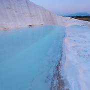 White calcium cascades and terraces of Pamukkale, Turkey
