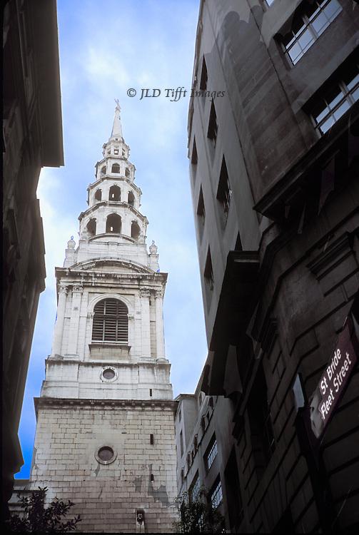 St. Bride's Church spire (Christopher Wren, 1675) hidden behind office blocks just off Fleet Street, London.