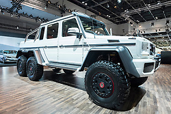 Mercedes G63 AMG 6x6 vehicle at the Dubai Motor Show 2013 United Arab Emirates