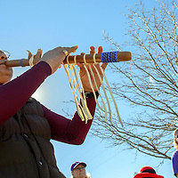 012014  Adron Gardner/Independent<br /> <br /> Alvin Bitsilly performs a flute song before a march to commemorate Martin Luther King Day at the Cultural Center in Gallup Monday.