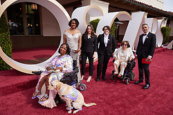 Andraea Lavant (L); service dog Goji LaVant (2nd from L); Judith Heumann (2nd from R); Howard Gertler (R) and guests arrive on the red carpet of The 93rd Oscars® at Union Station in Los Angeles, CA, USA on Sunday, April 25, 2021. Photo by A.M.P.A.S. via ABACAPRESS.COM on Sunday, April 25, 2021.