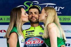 Winner Giovanni Visconti (ITA) of Neri Sottoli Selle Italia KTM celebrates at trophy ceremony after the 4th Stage of 26th Tour of Slovenia 2019 cycling race between Nova Gorica and Ajdovscina (153,9 km), on June 22, 2019 in Slovenia. Photo by Vid Ponikvar / Sportida
