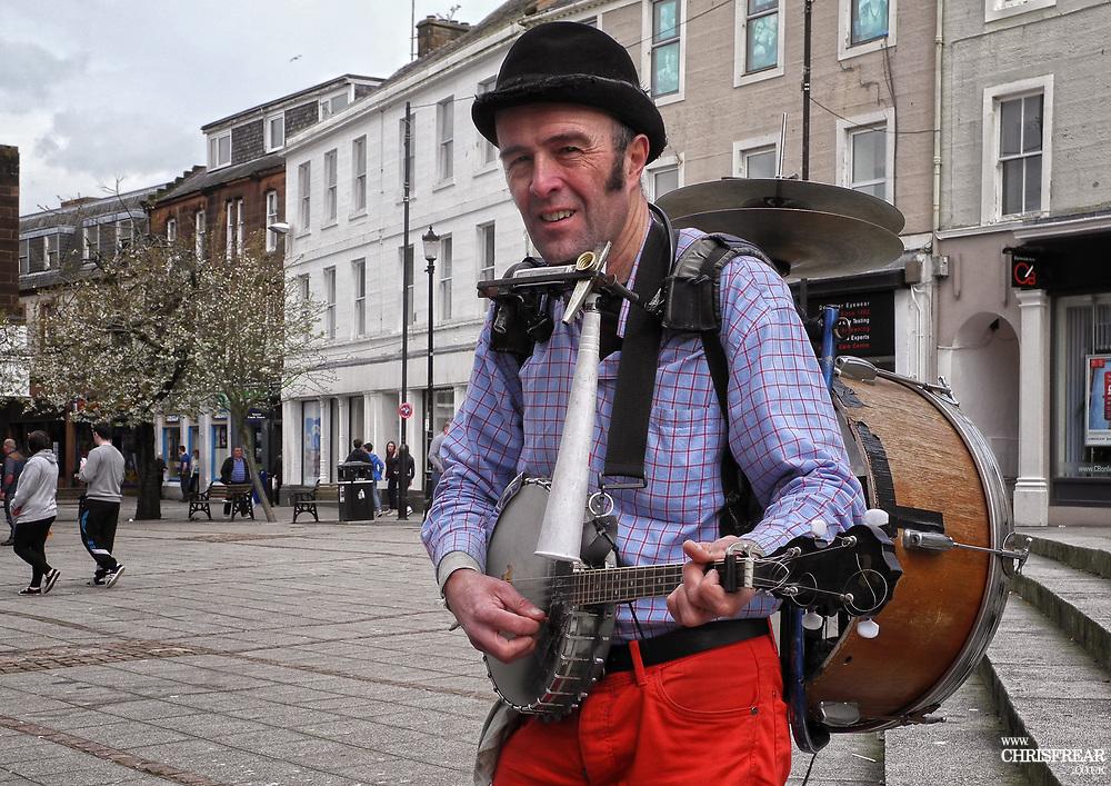 Allan Welland - One Man Band<br />Street Entertainer<br />Dumfries, Dumfriesshire, Scotland.<br />(c) 2014 Chris Frear Butterfield