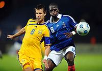 Fotball<br /> Frankrike v Ukraina U21<br /> Foto: DPPI/Digitalsport<br /> NORWAY ONLY<br /> <br /> FOOTBALL - UEFA EURO 2011 UNDER 21 - QUALIFYING ROUND - GROUP 8 - FRANCE U21 v UKRAINE U21 - 8/09/2009 <br /> <br /> MOUSSA SISSOKO (FRA) - OLEKSIY KURYLOV (UKR)