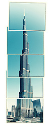 digitally manipulated image of Burj Khalifa tower in Dubai United Arab Emirates