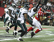 Tight end Tony Gonzalez of the Atlanta Falcons tip toes in the end zone for a touchdown reception during the game against the Philadelphia Eagles at the Georgia Dome in Atlanta, Georgia in September, 2011.