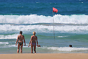 Israel, Haifa, Carmel Beach, Israelis go to the Beach on a warm, sunny day