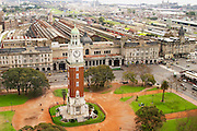 Bird's eye view of The Big Ben like clock tower called Torre de los Ingleses (the Englishmen's tower) renamed Torre Monumental (Monumental Tower) on the Plaza San Martin Square renamed Plaza de la Fuerza Aerea or Plaza Fuerza Retiro. Retiro railway station in the background. Buenos Aires Argentina, South America