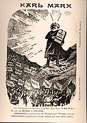 19th century French illustration depicting Karl Marx depicted as Moses presenting the two central points of communism. The Communist Manifesto and Das Kapital