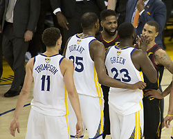 May 31, 2018 - Oakland, California, U.S - Tristan Thompson #13 of the Cleveland Cavaliers and Kevin Durant #35 and Draymond Green #23 of the Golden State  Warriors exchange words in overtime during Game 1 of the  2018 NBA Finals at ORACLE  Arena on May 31, 2018 in  Oakland, California. ARMANDO  ARORIZO/PI (Credit Image: © Prensa Internacional via ZUMA Wire)