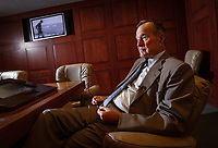 College Station, TX -- Former President George Herbert Walker Bush looking over the newly updated George H.W. Bush Presidential Library and Museum in College Station, TX while sitting in a replica of the White House situation room.  Photo by Jack Gruber, USA TODAY