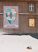 A mural on an apartment block in Barentsberg, a Russian mining town in Spitsbergen. Spitsbergen is the largest island of the arctic archipelago Svalbard, of Norway