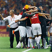 Galatasaray's Johan ELMANDER (F) celebrate his goal with team mate during their Turkish Super League soccer match Galatasaray between Samsunspor at the Turk Telekom Arena at Seyrantepe in Istanbul Turkey on Sunday, 18 September 2011. Photo by TURKPIX