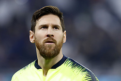 February 19, 2019 - Lyon, France - Lionel Messi looks on during the UEFA Champions League round of 16 first leg football match between Lyon (OL) and FC Barcelona on February 19, 2019, at the Groupama Stadium in Decines-Charpieu, central-eastern France. (Credit Image: © Mehdi Taamallah/NurPhoto via ZUMA Press)