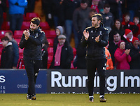 Lincoln City manager Danny Cowley, left, and Lincoln City's assistant manager Nicky Cowley applauds the fans at the final whistle<br /> <br /> Photographer Andrew Vaughan/CameraSport<br /> <br /> The EFL Sky Bet League Two - Lincoln City v Northampton Town - Saturday 9th February 2019 - Sincil Bank - Lincoln<br /> <br /> World Copyright © 2019 CameraSport. All rights reserved. 43 Linden Ave. Countesthorpe. Leicester. England. LE8 5PG - Tel: +44 (0) 116 277 4147 - admin@camerasport.com - www.camerasport.com