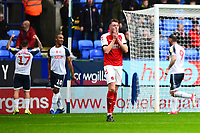 Fleetwood Town's Harry Souttar reacts after Bolton Wanderers first goal<br /> <br /> Photographer Richard Martin-Roberts/CameraSport<br /> <br /> The EFL Sky Bet League One - Bolton Wanderers v Fleetwood Town - Saturday 2nd November 2019 - University of Bolton Stadium - Bolton<br /> <br /> World Copyright © 2019 CameraSport. All rights reserved. 43 Linden Ave. Countesthorpe. Leicester. England. LE8 5PG - Tel: +44 (0) 116 277 4147 - admin@camerasport.com - www.camerasport.com