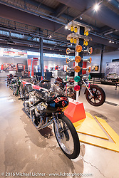 Vance and Hines twin four-cylinder engine powered drag bike, on display in Drag Racing: America's Fast Time - exhibition at the Harley-Davidson Museum during the Milwaukee Rally. Milwaukee, WI, USA. Saturday, September 3, 2016. Photography ©2016 Michael Lichter.
