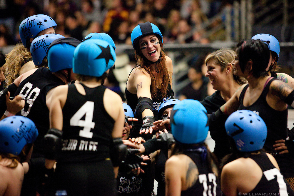 The San Diego Derby Dolls skated to victory, beating the Mitten Kittens of Michigan 193-58 in their first home bout on their new banked track.