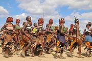 Africa, Ethiopia, Omo River Valley Hamer Tribe. A tribal dance