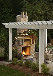 Deck patio Verandah Porch with fireplace