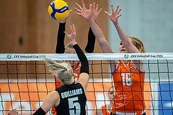 Elles Dambrink of Netherlands, Indy Baijens of Netherlands in action during the Women's friendly match between Netherlands and Belgium at Sporthal De Basis on may 19, 2021 in Sliedrecht, Netherlands (Photo by RHF Agency/Ronald Hoogendoorn)