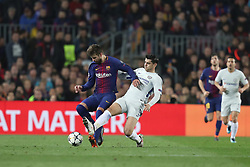 March 14, 2018 - Barcelona, Spain - GERARD PIQUE of FC Barcelona and ALVARO MORATA of Chelsea FC during the UEFA Champions League, round of 16, 2nd leg football match between FC Barcelona and Chelsea FC on March 14, 2018 at Camp Nou stadium in Barcelona, Spain (Credit Image: © Manuel Blondeau via ZUMA Wire)