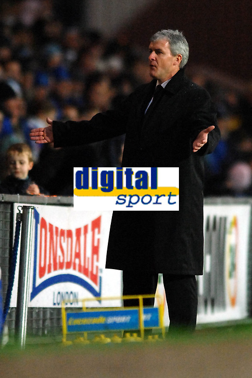 Photo: Paul Greenwood.<br />Blackburn Rovers v West Ham United. The Barclays Premiership. 17/03/2007.<br />Blackburn manager Mark Hughes reacts to the referee's decision to award a penalty