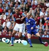 Photo: Mark Stephenson.<br /> Aston Villa v Everton. The FA Barclays Premiership. 23/09/2007.Villa's John Crew on thr ball with Tony Hibbert
